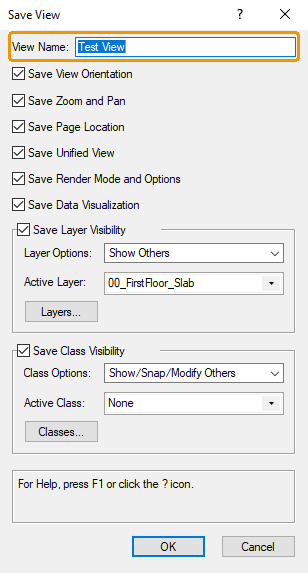 Vectorworks' Save View dialog