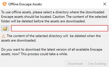 Define the location to store the Offline Assets