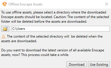 Choose between the latest version or locally cached version of assets to use.