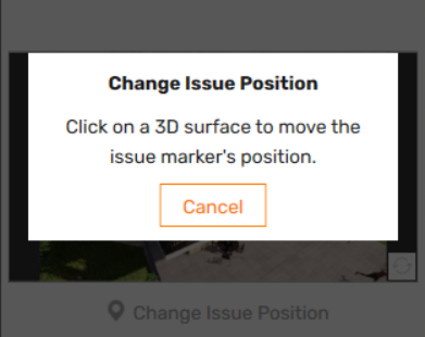 Prompt to select the 3D surface where the Issue marker should be placed