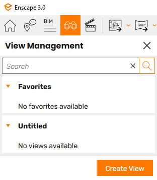 The View Management panel open in the Enscape viewport