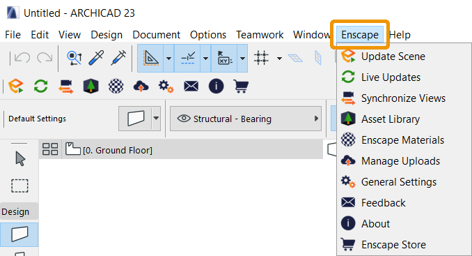 Enscape in top level Archicad menu