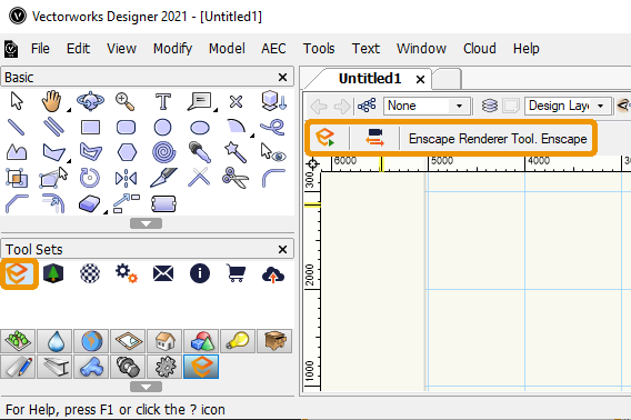 Start Enscape via the toolbar