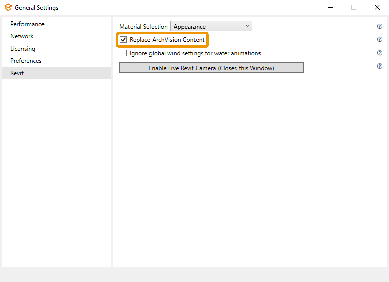 Location of the Replace ArchVision Content checkbox in the Enscape General Settings window