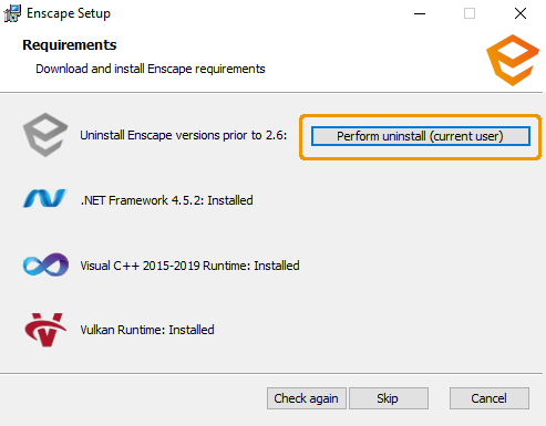 Uninstall previous versions of Enscape
