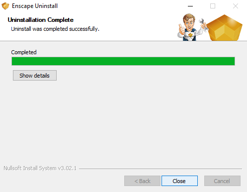 Show details if uninstalled files and close the window