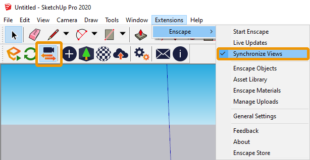 The Synchronize Views button and menu option in SketchUp