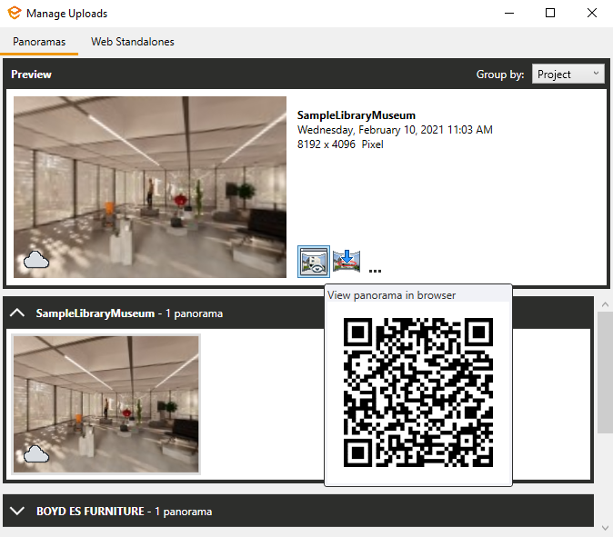 Enscape's 'View panorama in browser' button showing the QR code when hovering over the button