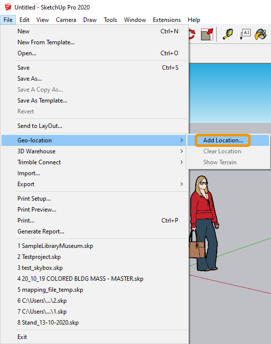 SketchUp Add Location Option