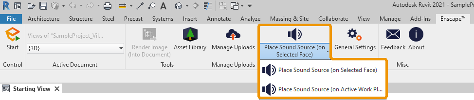 Place sound source button in Revit
