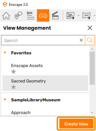The Create View button in the View Management panel