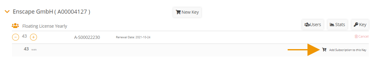Add subscription to the License Key