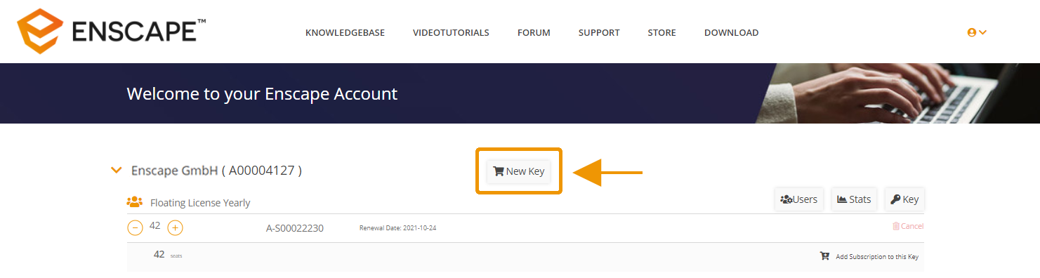 Purchase a new Subscription with a new License Key