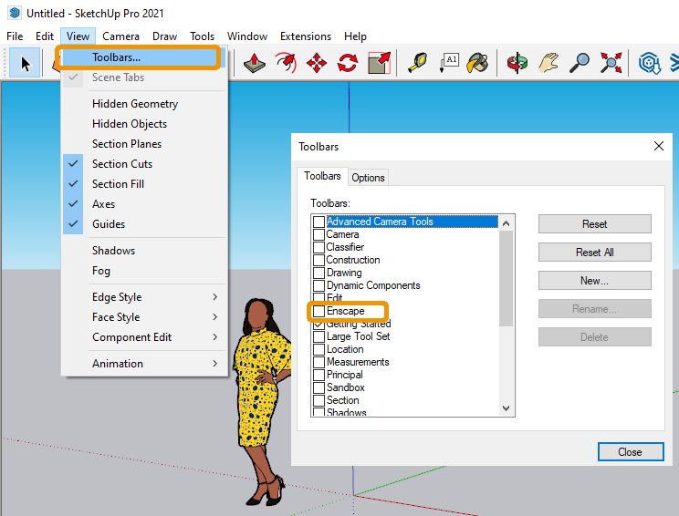 Enable Enscape Toolbar via SketchUp's View menu