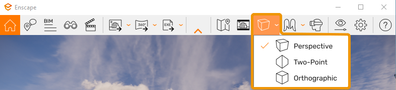 Projection mode button and menu in the Enscape User Interface