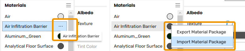 Import and Export Package Material options