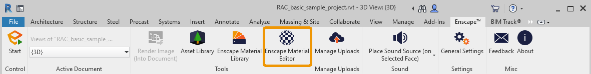 Location of the Enscape Material Editor button in Revit
