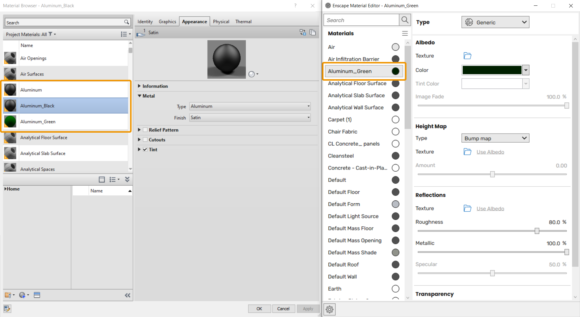 The Revit Material Editor (left) and the Enscape Material Editor (right) showing the omission of Appearance materials other than 'Generic'