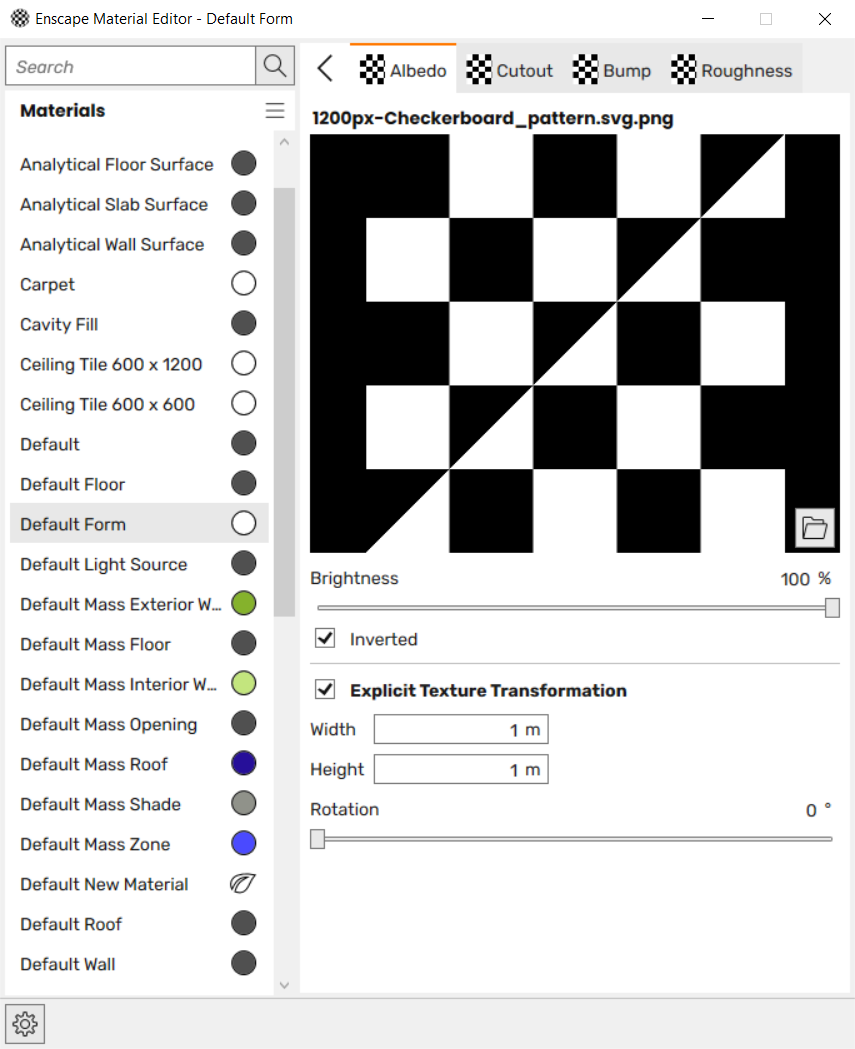 Texture Editor window in the Enscape native Material Editor
