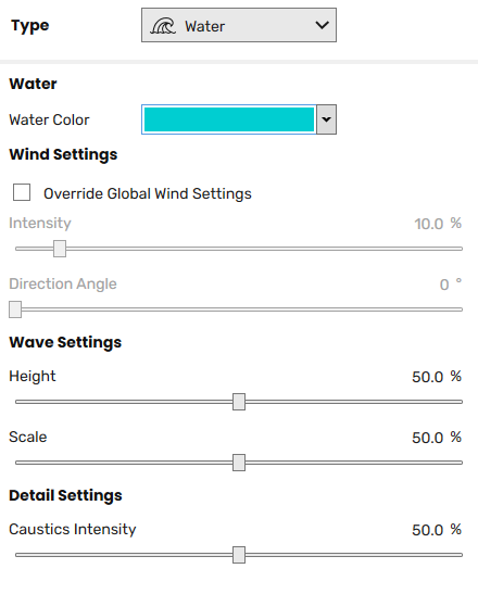 Water options in the Enscape Material Editor