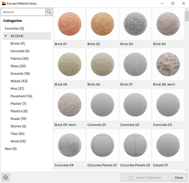 The Enscape Material Library dialog window