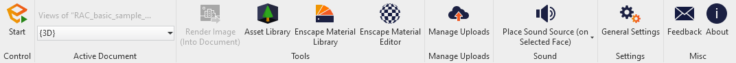 The Enscape Toolbar in the Revit User Interface